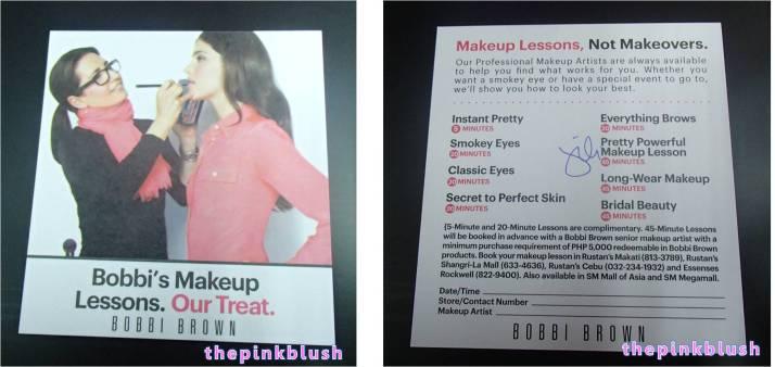 bobbi brown gifts - makeup lessons card