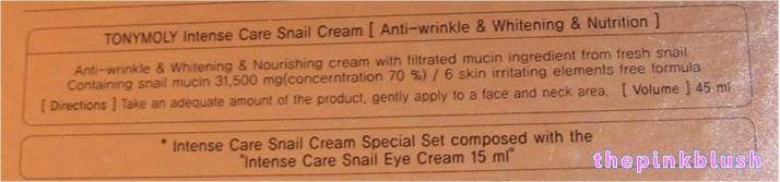 tony moly intense care snail cream special set product description